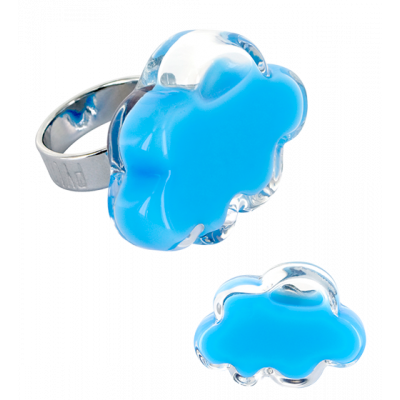 Anello in vetro - Nuage Medium Milk Azzuro