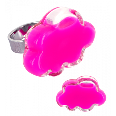 Anello in vetro - Nuage Medium Milk Rosa