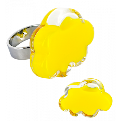 Anello in vetro - Nuage Medium Milk Giallo