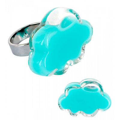 Nuage Medium Milk - Glass ring Turquoise