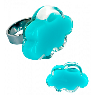 Anello in vetro - Nuage Medium Milk Blu Laguna