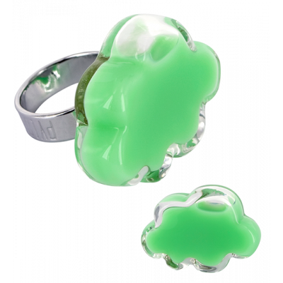 Anello in vetro - Nuage Medium Milk Verde Cactus