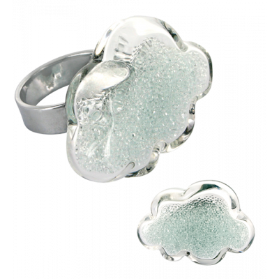 Glass ring - Nuage Medium Billes Crystal
