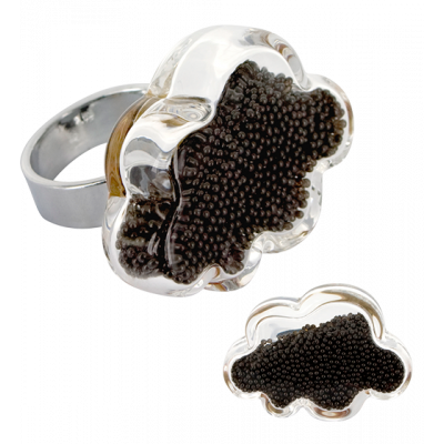 Nuage Medium Billes - Glass ring Black