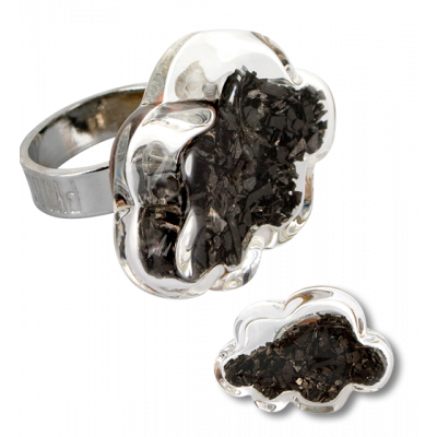 Anello in vetro - Nuage Medium Paillettes Nero