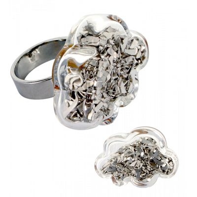 Anello in vetro - Nuage Medium Paillettes Argento