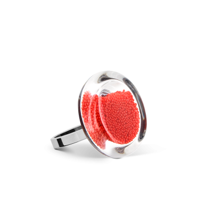 Anello in vetro - Cachou Nano Billes Rosso