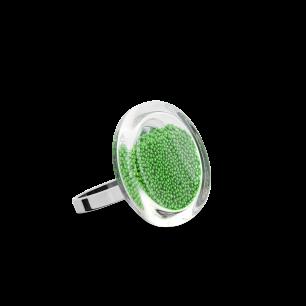 Anello in vetro - Cachou Nano Billes Verde