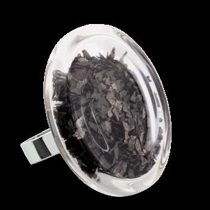 Bague en verre soufflée - Cachou Giga Paillettes Noir