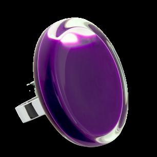 Bague en verre soufflée - Cachou Giga Milk Violet foncé