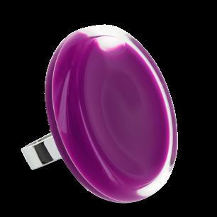 Bague en verre soufflée - Cachou Giga Milk Violet