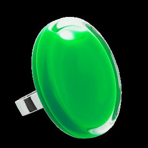 Bague en verre soufflée - Cachou Giga Milk Vert foncé