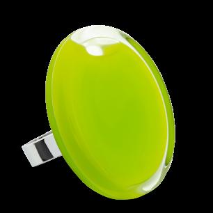 Bague en verre soufflée - Cachou Giga Milk Vert Clair