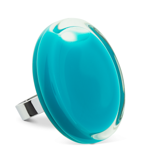 Bague en verre soufflée - Cachou Giga Milk Turquoise