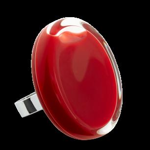 Bague en verre soufflée - Cachou Giga Milk Rouge foncé