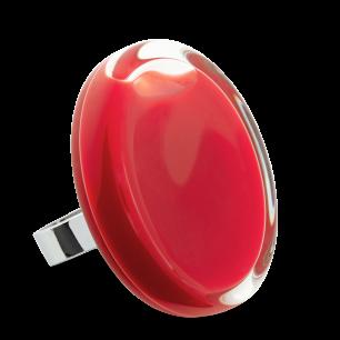 Bague en verre soufflée - Cachou Giga Milk Rouge clair