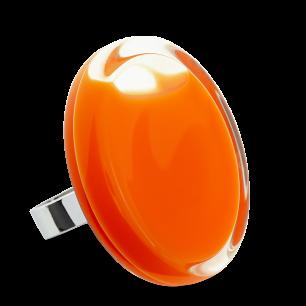 Bague en verre soufflée - Cachou Giga Milk Orange