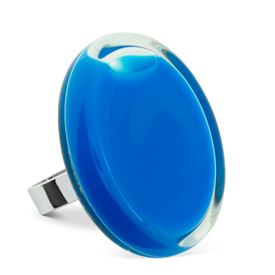 Bague en verre soufflée - Cachou Giga Milk Bleu roi