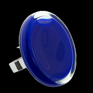 Bague en verre soufflée - Cachou Giga Milk Bleu Foncé
