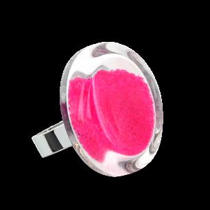 Glass ring - Cachou Medium Billes Fuchsia