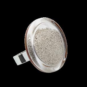 Glass ring - Cachou Medium Billes Silver