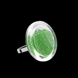 Glass ring - Cachou Mini Billes Green