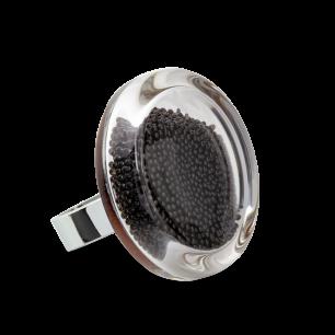 Glass ring - Cachou Medium Billes Black