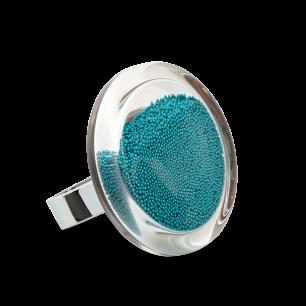 Glass ring - Cachou Medium Billes Turquoise