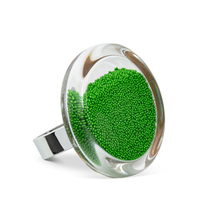 Glass ring - Cachou Medium Billes Green