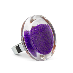 Glass ring - Cachou Medium Billes Purple