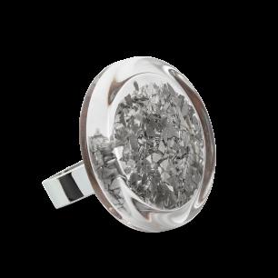 Glass ring - Cachou Medium Paillettes Silver