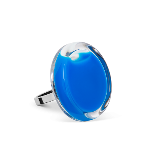 Bague en verre soufflée - Cachou Mini Milk Bleu roi
