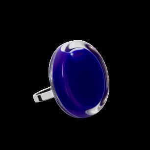 Bague en verre soufflée - Cachou Mini Milk Bleu Foncé