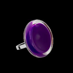 Bague en verre soufflée - Cachou Mini Milk Violet foncé