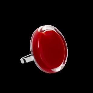 Bague en verre soufflée - Cachou Mini Milk Rouge foncé