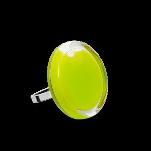 Bague en verre soufflée - Cachou Mini Milk Vert Clair