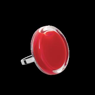 Bague en verre soufflée - Cachou Mini Milk Rouge clair