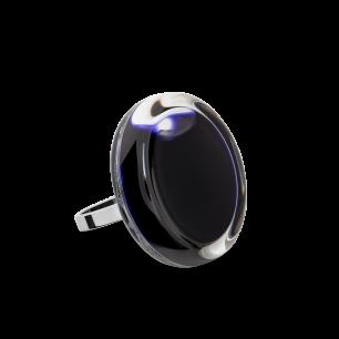 Bague en verre soufflée - Cachou Mini Milk Noir