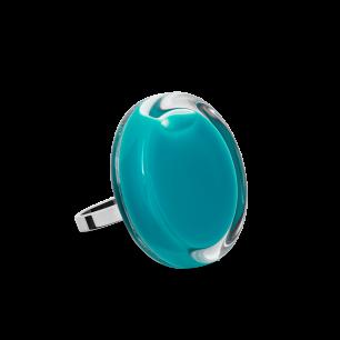 Bague en verre soufflée - Cachou Mini Milk Turquoise