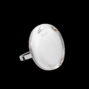 Bague en verre soufflée - Cachou Mini Milk Blanc