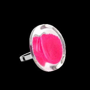 Glass ring - Cachou Mini Billes Fuchsia