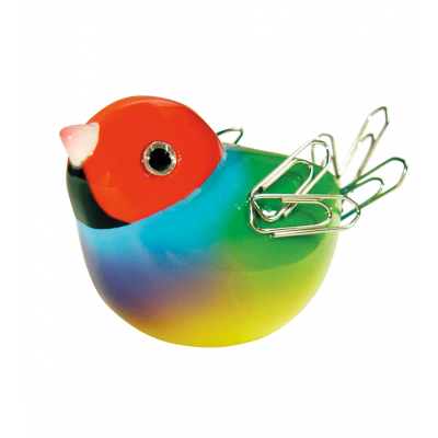 Magnetic bird for paperclips - Piu Piu Red