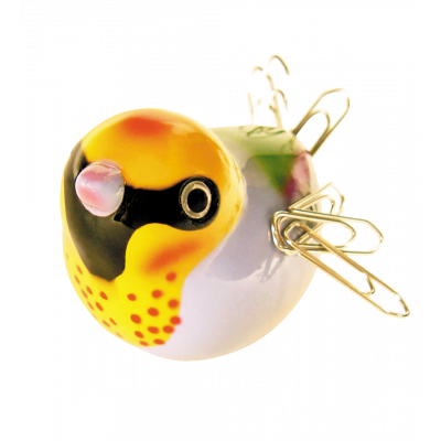 Piu Piu - Magnetic bird for paperclips Yellow