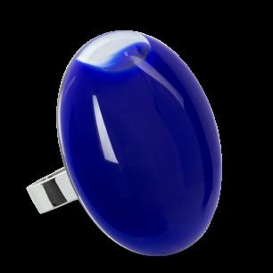 Bague en verre soufflée - Galet Giga Milk Bleu Foncé