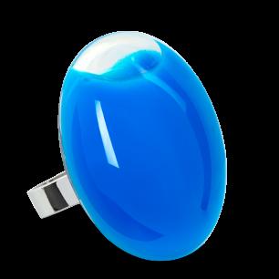 Bague en verre soufflée - Galet Giga Milk Bleu roi
