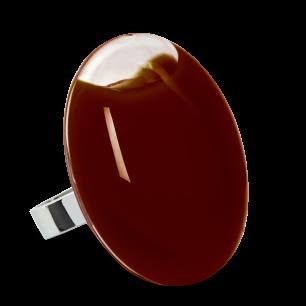 Bague en verre soufflée - Galet Giga Milk Chocolat