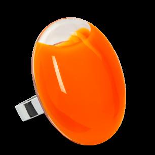 Bague en verre soufflée - Galet Giga Milk Orange