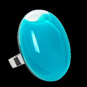 Bague en verre soufflée - Galet Giga Milk Turquoise