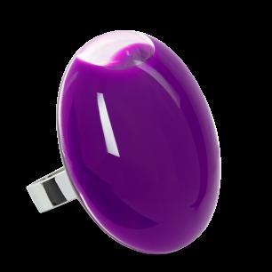 Bague en verre soufflée - Galet Giga Milk Violet
