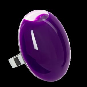 Bague en verre soufflée - Galet Giga Milk Violet foncé